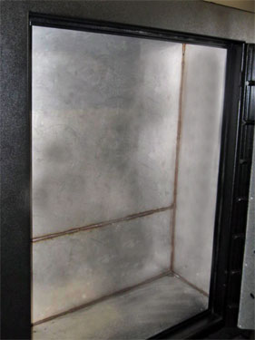 Stainless steel gun safe interior shell, torch resistant safe interior