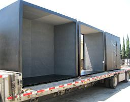 USA made storm shelter shipping via flatbed truck